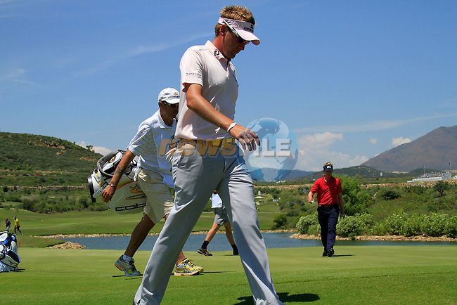 Ian Poulter (ENG) walks off the 3rd green during the afternoon Final session on the Final Day of the Volvo World Match Play Championship in Finca Cortesin, Casares, Spain, 22nd May 2011. (Photo Eoin Clarke/Golffile 2011)