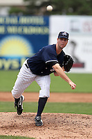 Empire State Yankees relief pitcher John Maine #44, making his first appearance of the season, delivers a pitch during a game against the Louisville Bats at Dwyer Stadium on June 12, 2012 in Batavia, New York.  Empire State defeated Louisville 9-7.  (Mike Janes/Four Seam Images)