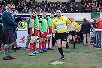 Match officials enter the field of play ahead of the Greene King IPA Championship match between London Scottish Football Club and Hartpury RFC at Richmond Athletic Ground, Richmond, United Kingdom on 28 October 2017. Photo by David Horn.