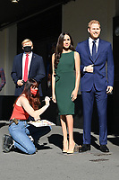London, UK - 30 July 2020<br /> Madame Tussauds most popular figures 'queue' outside the attraction to celebrate the reopening to the public this Saturday 1st August of one of London's most notable tourist attractions. Donald Trump, Meghan Duchess of Sussex and Prince Harry<br /> CAP/JOR<br /> ©JOR/Capital Pictures
