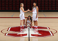 STANFORD, CA - September, 20, 2016: The 2016-2017 Stanford Women's Basketball Team. Karlie Samuelson (44), Briana Roberson (10), Erica McCall (24).