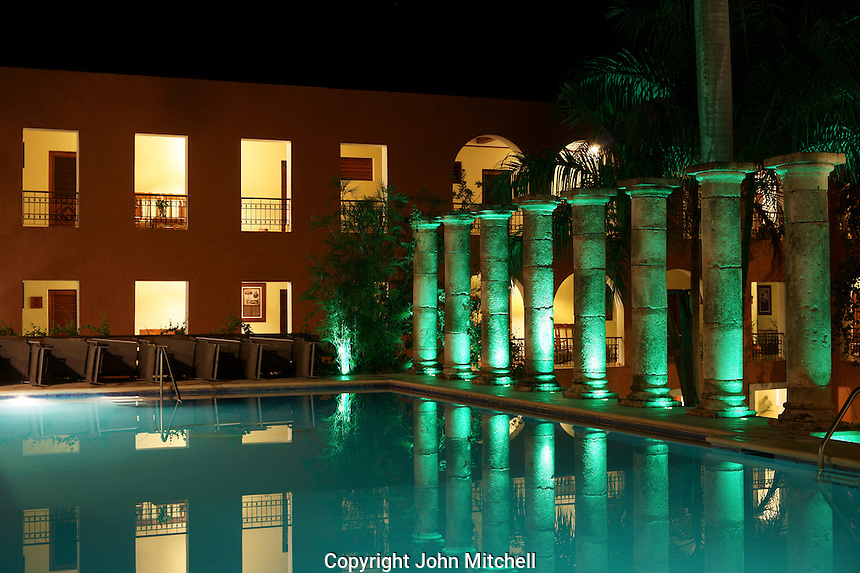 Night shot of the swimming pool at the Hotel Hacienda Uxmal near the Mayan ruins of Uxmal, Yucatan, Mexico.