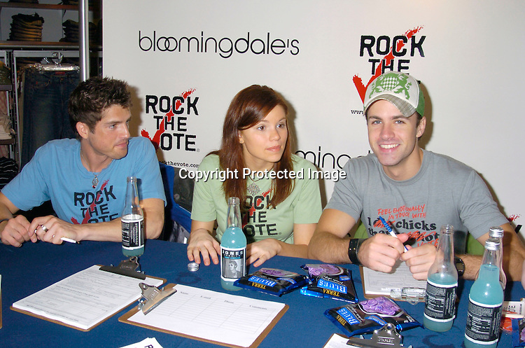 Guiding Light Star Scott Bailey, Mandy Bruno and John Driscoll ..at Bloomingdales for an event for Rock the Vote on ..September 18, 2004 in New York City. ..Photo by Robin Platzer, Twin Images