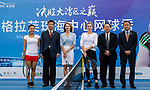 Steffi Graf of Germany (L3), the global ambassador of Zhuhai WTA Elite Trophy 2017, Anastasia Pavlyuchenkova of Russia (R3), and guests pose for photo during the Steffi Graff tennis show at Zhuhai Tower on November 04, 2017 in Zhuhai, China. Photo by Yu Chun Christopher Wong / Power Sport Images