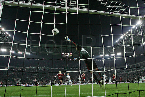 20.03.2012. Turin, Italy.  Coppa Italia versus Juventus Milan. Phtoo shows the goal from Mirko Vucinic  The game ended in a 2-2 draw with Juventus going through to the next round 4-3 on aggregate.