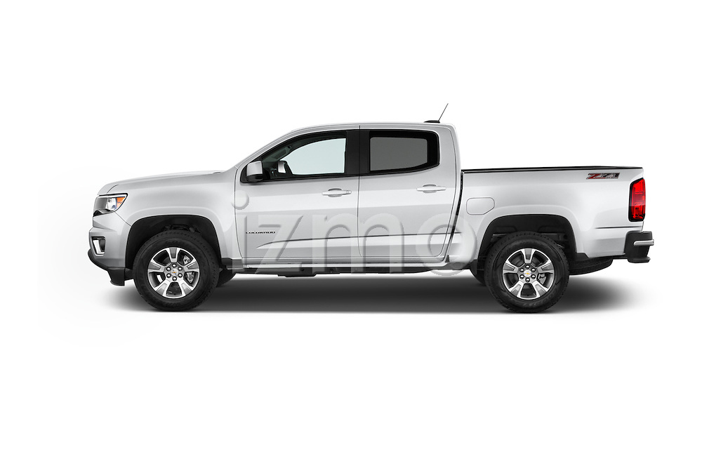 Car Driver side profile view of a 2015 Chevrolet Colorado Z71 Crew Cab 4 Door Pick Up Side View