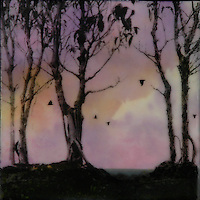 Enchanted purple forest encaustic painting with photography