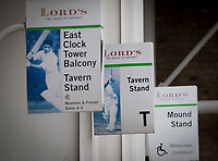 Various signs for the Tavern Stand at Lords Cricket Ground during Middlesex CCC vs Lancashire CCC, Specsavers County Championship Division 2 Cricket at Lord's Cricket Ground on 12th April 2019