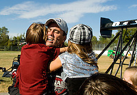 Sept. 6, 2010; Clermont, IN, USA; NHRA top fuel dragster driver Larry Dixon celebrates with his children after winning the U.S. Nationals at O'Reilly Raceway Park at Indianapolis. Mandatory Credit: Mark J. Rebilas-