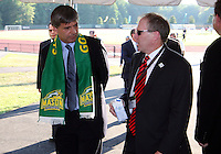 Harold Mayne-Nicholls with D.C. United president Kevin Payne during the visit of the FIFA World Cup 2018-2022 inspection delegation to George Mason University soccer practice facility.