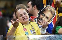 FUSSBALL WM 2014                HALBFINALE Brasilien - Deutschland          08.07.2014 Ein Fan der brasilianischen Nationalmannschaft ist mit Neymar-Maske enttaeuscht