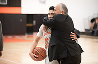 Brian Newhall, head men's basketball coach<br /> The Occidental College men's basketball team plays against Chapman College in Rush Gym on Feb. 14, 2018.<br /> (Photo by Marc Campos, Occidental College Photographer)