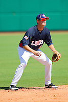 Shortstop Jordy Mercer #4 of the United States World Cup/Pan Am Team on defense against Team Canada at the USA Baseball National Training Center on September 29, 2011 in Cary, North Carolina.  (Brian Westerholt / Four Seam Images)