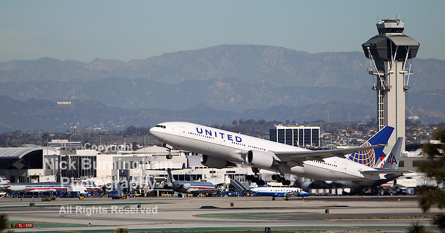 LOS ANGELES, CALIFORNIA, USA - JANUARY 15, 2013 - United Airlines Boeing 777-222 takes off at Los Angeles Airport on January 15, 2013.  It has a range of 7,700 miles with over 300 passengers.