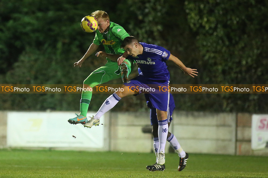 Dion Conroy, who returned to the Chelsea team after injury, heads the ball away - Chelsea Under-21 vs Borussia Monchengladbach Under-21 - UEFA Under-21 League Football at Staines Town FC - 19/12/14 - MANDATORY CREDIT: Paul Dennis/TGSPHOTO - Self billing applies where appropriate - contact@tgsphoto.co.uk - NO UNPAID USE