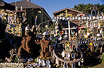 Downtown historic home along bluff with yard decorated with shells  Mendocino California USA