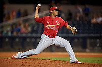 Palm Beach Cardinals relief pitcher Yeison Medina (53) delivers a pitch during a game against the Charlotte Stone Crabs on April 21, 2018 at Charlotte Sports Park in Port Charlotte, Florida.  Charlotte defeated Palm Beach 5-2.  (Mike Janes/Four Seam Images)
