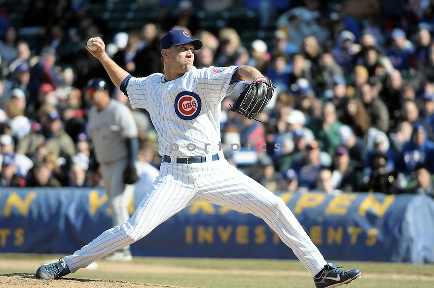 MICHAEL WUERTZ, of the Chicago Cubs, in action during the Cubs game against the Milwaukee Brewers in Chicago, IL  on April 2, 2008...Cubs win 2-0...CHRIS BERNACHHI / SPORTPICS..