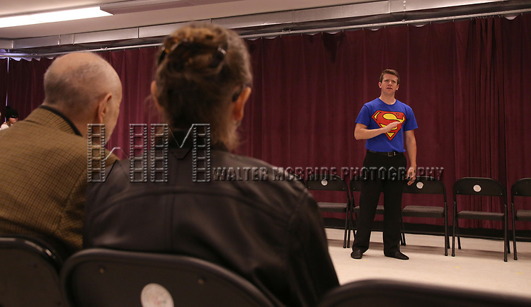 Barbara Siman and Charles Strouse watching Performer Dominic Wintz during the Children's Theatre of Cincinnati presentation for composer Charles Strouse of 'Superman The Musical' at Ripley Grier Studios on June 8, 2018 in New York City.