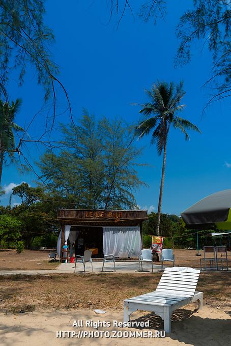 Wooden beach bed near Le Le Bar on Ong Lang beach, Phuquoc, Vietnam