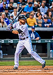 16 September 2017: Colorado Rockies catcher Jonathan Lucroy in action against the San Diego Padres at Coors Field in Denver, Colorado. The Rockies shut out the Padres in a 16-0 route of the second game in their 3-game divisional series. Mandatory Credit: Ed Wolfstein Photo *** RAW (NEF) Image File Available ***