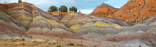 The colorful sedimentary layer of clay is uncovered at Vermillon Cliffs National Monument, Arizona