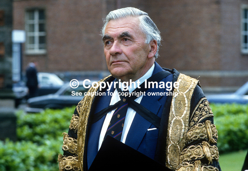 Sir Roland Wright, chancellor, Queen's University, Belfast, N Ireland, former chairman of UK company, ICI, pictured in the academic procession following a graduation ceremony. 19850712RW1..Copyright Image from Victor Patterson, 54 Dorchester Park, Belfast, UK, BT9 6RJ..Tel: +44 28 9066 1296.Mob: +44 7802 353836.Voicemail +44 20 8816 7153.Skype: victorpattersonbelfast.Email: victorpatterson@me.com.Email: victorpatterson@ireland.com (back-up)..IMPORTANT: If you wish to use this image or any other of my images please go to www.victorpatterson.com and click on the Terms & Conditions. Then contact me by email or phone with the reference number(s) of the image(s) concerned.