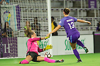Orlando, FL - Saturday August 12, 2017: Kailen Sheridan, Alex Morgan during a regular season National Women's Soccer League (NWSL) match between the Orlando Pride and Sky Blue FC at Orlando City Stadium.