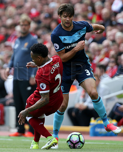 May 21st 2017, Anfield, Liverpool, Merseyside; EPL Premier league football, Liverpool versus Middlesbrough; George Friend of Middlesbrough runs past Nathaniel Clyne of Liverpool