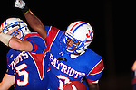 John Curtis running back Jordan Frost celebrates after scoring on a 30 yard pass play late in the 4th quarter.<br /> Frost scored the final touchdown in the 34-7 defeat of Newman.