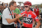 Race leader Chris Froome (GBR) Team Sky chats with media before the start of Stage 18 of the 2017 La Vuelta, running 169km from Suances to Santo Toribio de Li&eacute;bana, Spain. 7th September 2017.<br /> Picture: Unipublic/&copy;photogomezsport | Cyclefile<br /> <br /> <br /> All photos usage must carry mandatory copyright credit (&copy; Cyclefile | Unipublic/&copy;photogomezsport)