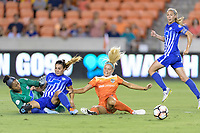 Houston, TX - Saturday July 22, 2017: Abby Smith, Brooke Elby and Rachel Daly during a regular season National Women's Soccer League (NWSL) match between the Houston Dash and the Boston Breakers at BBVA Compass Stadium.