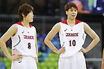 (L-R) Maki Takada, Ramu Tokashiki (JPN),  AUGUST 8, 2016 - Basketball : <br /> Women's Preliminary Round <br /> between Japan 82-66 Brazil <br /> at Youth Arena <br /> during the Rio 2016 Olympic Games in Rio de Janeiro, Brazil. <br /> (Photo by Yusuke Nakanishi/AFLO SPORT)