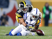 Ross Cockrell #31 of the Pittsburgh Steelers defends a pass in front of T.Y. Hilton #13 of the Indianapolis Colts in the first quarter during the game at Heinz Field on December 6, 2015 in Pittsburgh, Pennsylvania. (Photo by Jared Wickerham/DKPittsburghSports)
