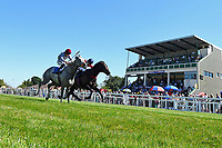 Winner of The Molson Coors Handicap (Class 2)Power of Darkness (r) ridden by Hayley Turner and trained by Marcus Tregonning  during Whitsbury Manor Stud Bibury Cup Day Racing at Salisbury Racecourse on 27th June 2018