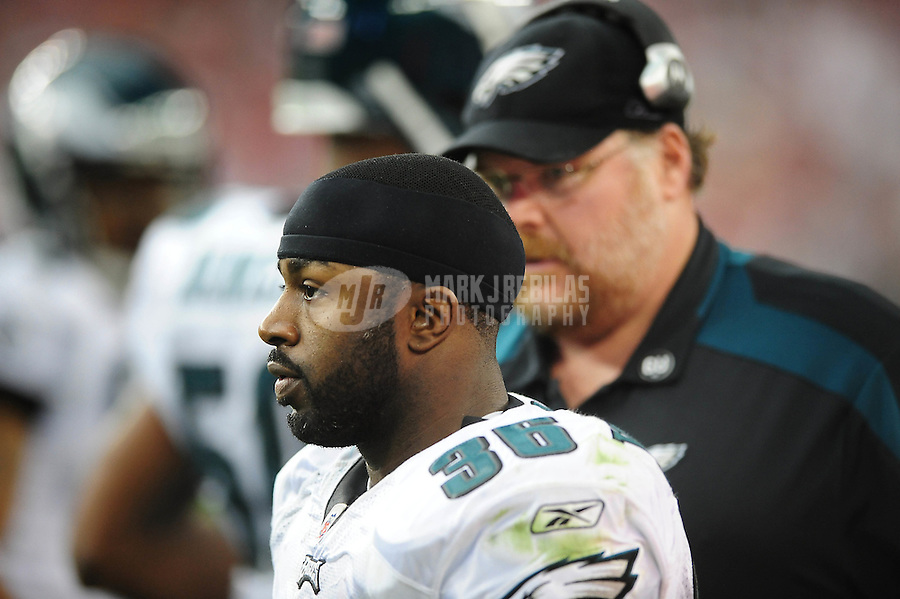 Jan. 18, 2009; Glendale, AZ, USA; Philadelphia Eagles running back (36) Brian Westbrook with head coach Andy Reid against the Arizona Cardinals during the NFC Championship game at University of Phoenix Stadium. Arizona defeated the Eagles 32-25 to advance to the Super Bowl. Mandatory Credit: Mark J. Rebilas-