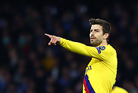 25th February 2020; Stadio San Paolo, Naples, Campania, Italy; UEFA Champions League Football, Napoli versus Barcelona; Gerard Piqué of Barcelona gives his team mates some direction