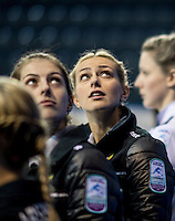 Glasgow. SCOTLAND.  Women's Semi Final&quot; Scotland vs Russia.    Russian,  &quot;Skip&quot; Victoria MOISEEVA, look's up at the big screen at the  introduction of the teams to the audience. Le Gruy&egrave;re European Curling Championships. 2016 Venue, Braehead  Scotland.<br /> <br /> Friday  25/11/2016<br /> <br /> [Mandatory Credit; Peter Spurrier/Intersport-images]