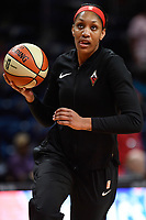 Washington, DC - July 13, 2019: Las Vegas Aces center A'ja Wilson (22) during warm up's before game between Las Vegas Aces and Washington Mystics at the Entertainment & Sports Arena in Washington, DC. (Photo by Phil Peters/Media Images International)