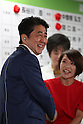 July 10, 2016, Tokyo, Japan - Japanese Prime Minister and ruling Liberal Democratic Party (LDP) president Shinzo Abe (L) shakes hands with a candidate Eriko Imai as she won the Upper House election at the LDP headquarters in Tokyo on Sunday, July 10, 2016.    (Photo by Yoshio Tsunoda/AFLO) LWX -ytd-