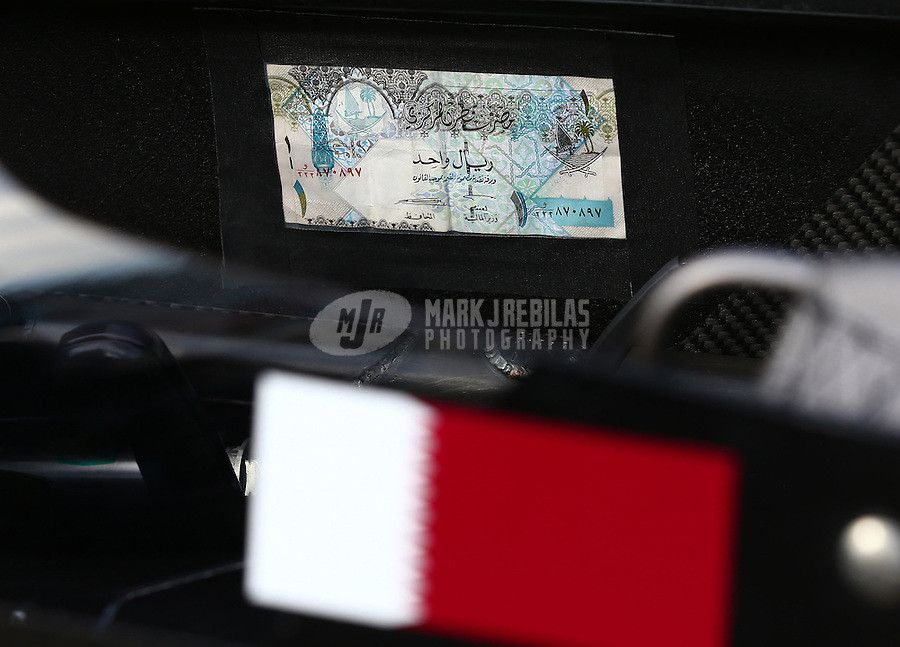 May 31, 2013; Englishtown, NJ, USA: Detailed view of money taped in the cockpit of the car of NHRA top fuel dragster driver Khalid Albalooshi during qualifying for the Summer Nationals at Raceway Park. Mandatory Credit: Mark J. Rebilas-