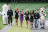 NO REPRO FEE. 8/9/2010. Bóthar launching Rugby Rocks Fashion. Leinster Rugby Player Brendan Macken, Ms Limerick, Valerie Somers ,Celia Holman Lee, Modeling agent, Niamh Mulqueen Bothar Ms Clare, Alice Carroll and John Cooney are pictured at the the Aviva Stadium, Lansdowne Road, Dublin to launch Bóthar's Rugby Rocks Fashion.This is the first fashion event to take place at the newly developed stadium. Tickets are EUR60 and discounts are available with multiple purchases. Log onto www.bothar.ie for further information or call 1850 82 99 99.. Picture James Horan/Collins