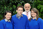 Miltown Secondary School students pictured with principal Cormac Bonner after receiving their junior certs on Wednesday, from left,  Laura O'Sullivan, Christopher Lyne and Amy O'Sullivan.<br /> Picture by Don MacMonagle