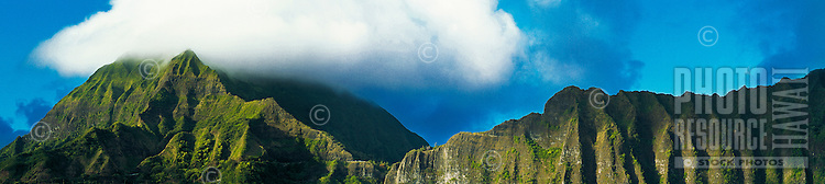 Panorama view of the Koolau mountains from the windward side of Oahu