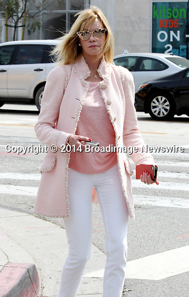 Pictured: Melanie Griffith<br /> Mandatory Credit &copy; Patron/Broadimage<br /> Melanie Griffith out and about in West Hollywood<br /> <br /> 3/28/14, West Hollywood, California, United States of America<br /> <br /> Broadimage Newswire<br /> Los Angeles 1+  (310) 301-1027<br /> New York      1+  (646) 827-9134<br /> sales@broadimage.com<br /> http://www.broadimage.com