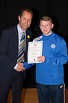 St Johnstone FC Academy Awards Night...06.04.15  Perth Concert Hall<br /> Alec Cleland presents a certificate to Marc Gow<br /> Picture by Graeme Hart.<br /> Copyright Perthshire Picture Agency<br /> Tel: 01738 623350  Mobile: 07990 594431