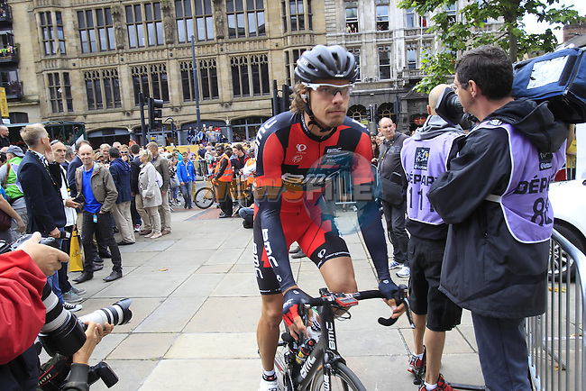 Daniel Oss (ITA) BMC Racing Team at sign on before the start Stage 1 of the 2014 Tour de France running 190.5km from Leeds to Harrogate. 5th July 2014.<br /> Picture: Eoin Clarke www.newsfile.ie
