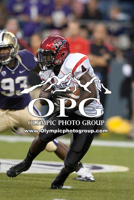 Sept 01, 2012:  San Diego State's #4 Adam Muema against Washington.  Washington defeated San Diego State 21-12 at CenturyLink Field in Seattle, Washington...