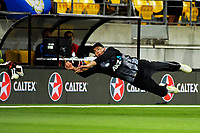 The ball beats Mitchell Santner during the International Twenty20 cricket match between the NZ Black Caps and England at Westpac Stadium in Wellington, New Zealand on Tuesday, 13 February 2018. Photo: Dave Lintott / lintottphoto.co.nz