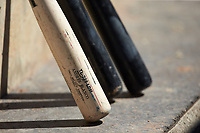 An Andres Blanco model baseball bat sits in the Lehigh Valley Iron Pigs dugout during the game against the Durham Bulls at Coca-Cola Park on July 30, 2017 in Allentown, Pennsylvania.  The Bulls defeated the IronPigs 8-2.  (Brian Westerholt/Four Seam Images)